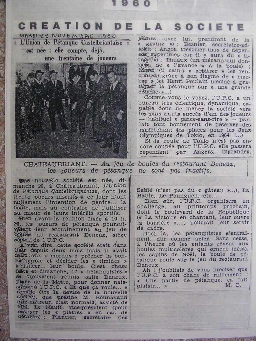 article de presse en 1960 création du club en novembre