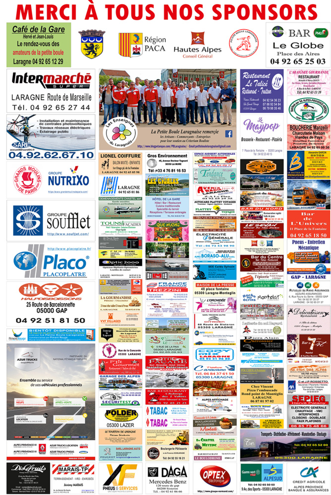 Sponsors Petite Boule Laragnaise 2017