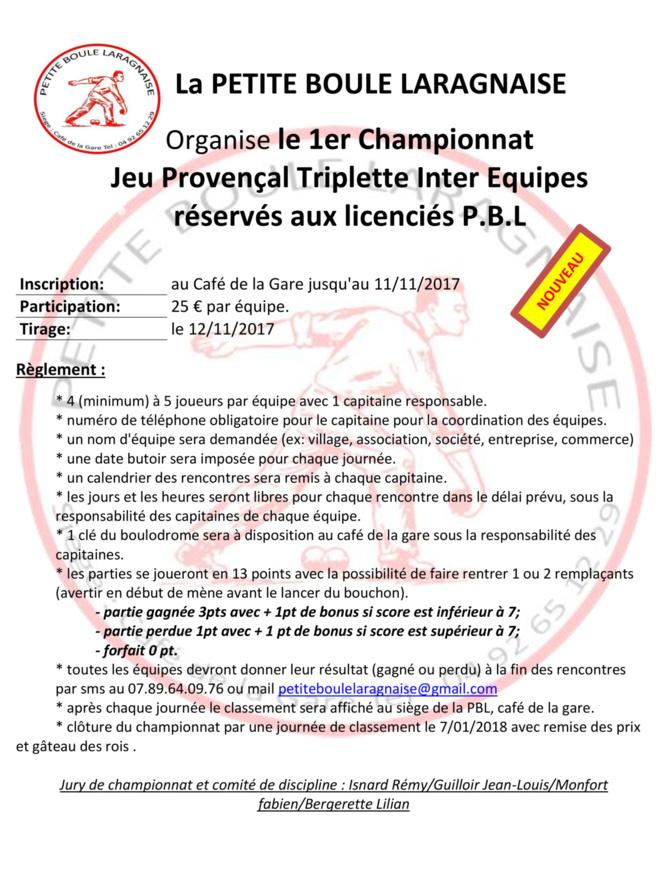 Championnat Provençal Triplette automne 2017