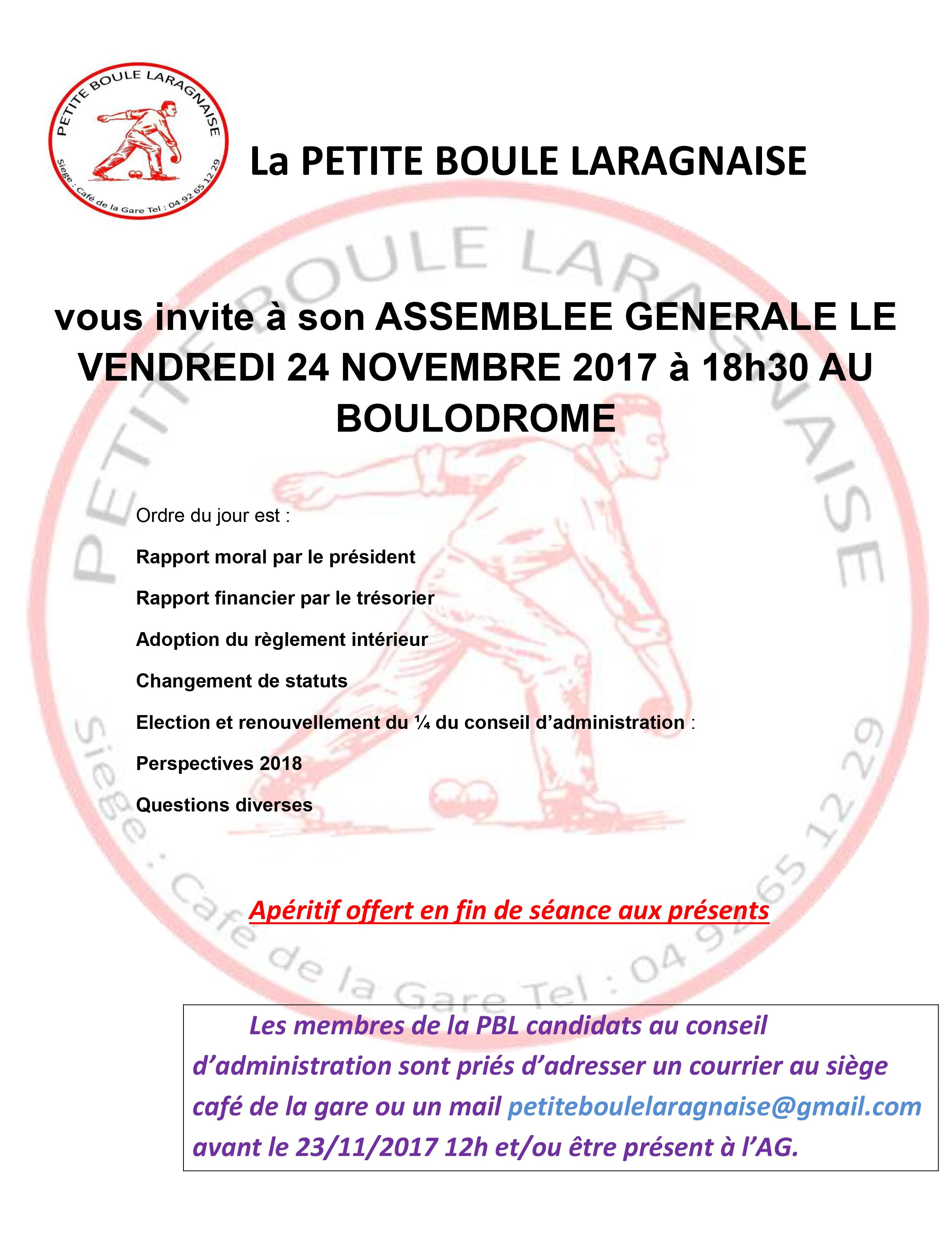 ASSEMBLEE GENERALE du 24/11/2017