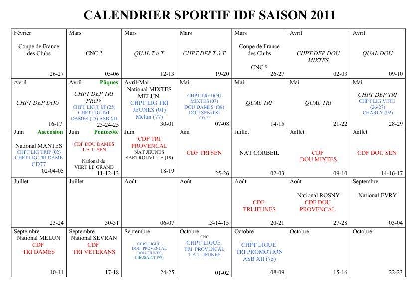 Calendrier sportif IDF 2011