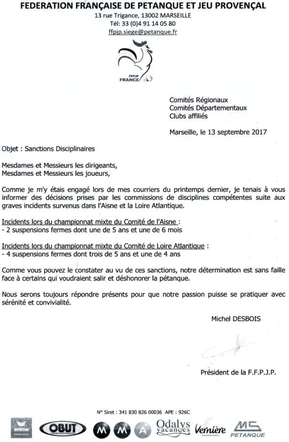 COMPTE-RENDU de la FFPJP 13 septembre 2017