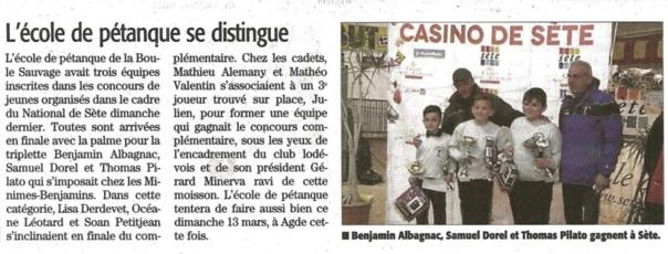 Concours triplette Benjamins/Minimes et Cadets à Sète dans le Midi Libre