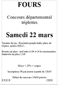 Concours triplettes à Fours le samedi 22 mars 2014