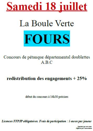 Concours doublettes à Fours le samedi 18 juillet 2015