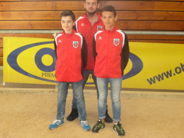Nos cadets le finaliste Dorian DUMONT et le champion Alexis FONTIBUS et le coach Mickaêl FONTIBUS