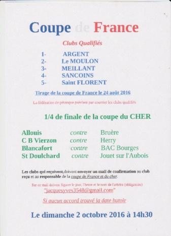 Coupe de FRANCE - Coupe du CHER