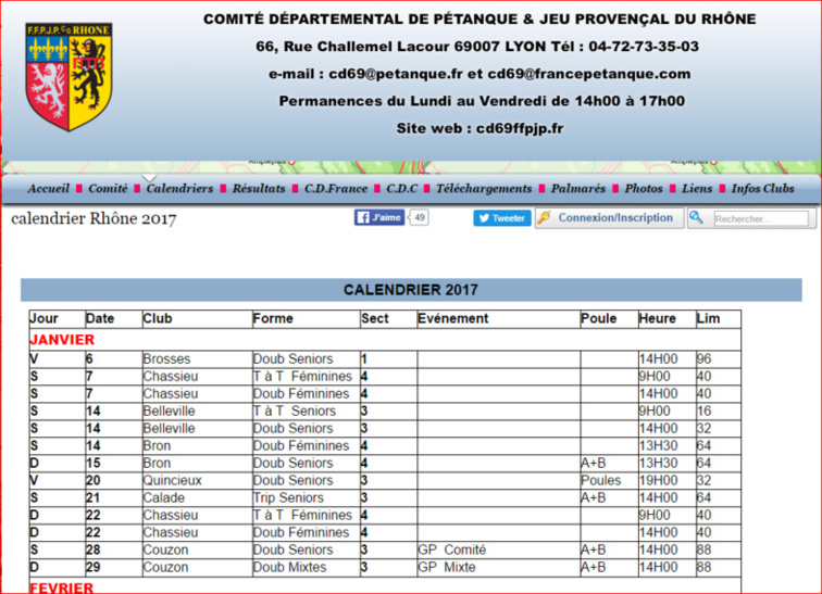 Calendriers Rhône 2017