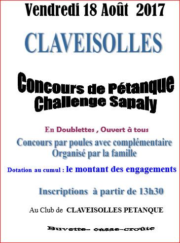Concours vendredi 18 août 2017 CLAVEISOLLES PÉTANQUE