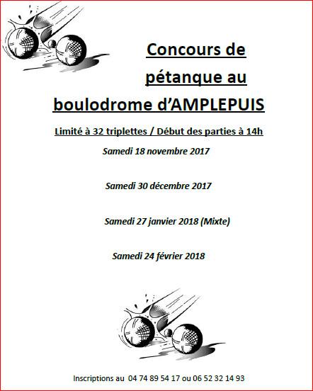 Concours de pétanque au boulodrome d'AMPLEPUIS saison 2017 / 2018