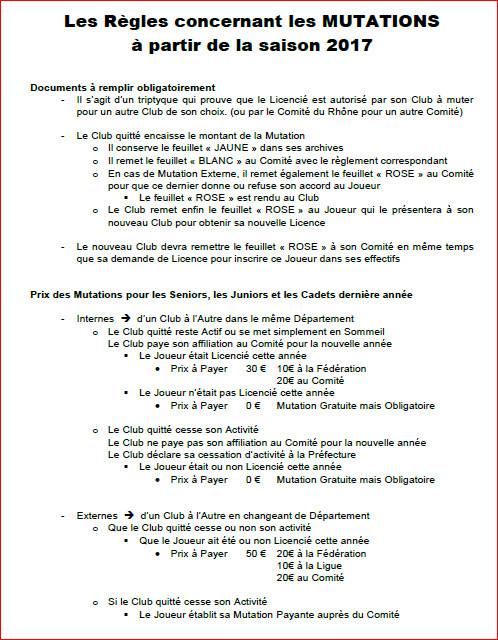 Les Règles concernant les MUTATIONS à partir de la saison 2017