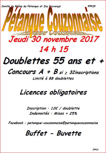Concours doublette vétérans jeudi 30 novembre 2017 couzon