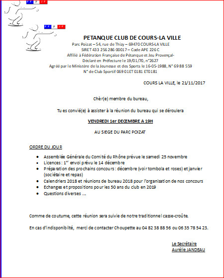 Réunion du bureau  VENDREDI 1er DECEMBRE A 19H AU SIEGE DUPARC POIZAT