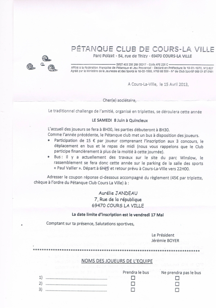 Feuille d'inscription pour le challenge de lamiti le samedi 8 Juin 2013  Quincieux