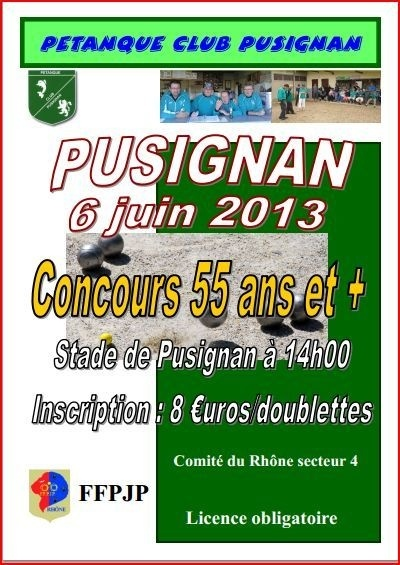 Concours 55 ans et + jeudi 6 juin 2013  Pusignan
