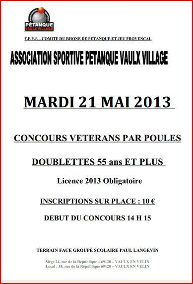 Concours  55 ans et + de l'ASPVV du mardi 21 mai 2013