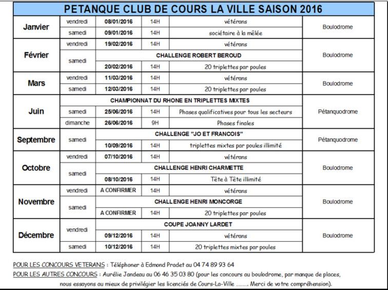 Calendrier concours Cours la ville saison 2016