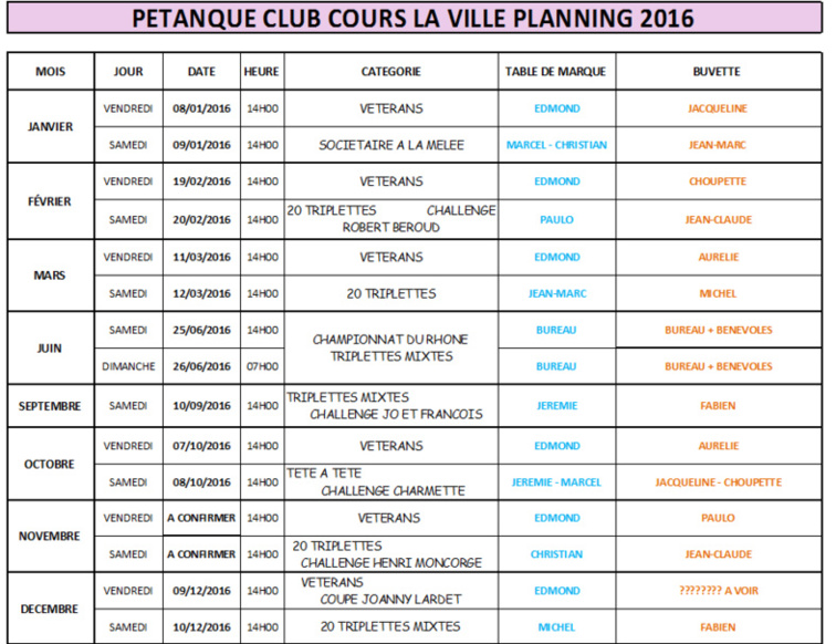 Planning organisation concours 2016