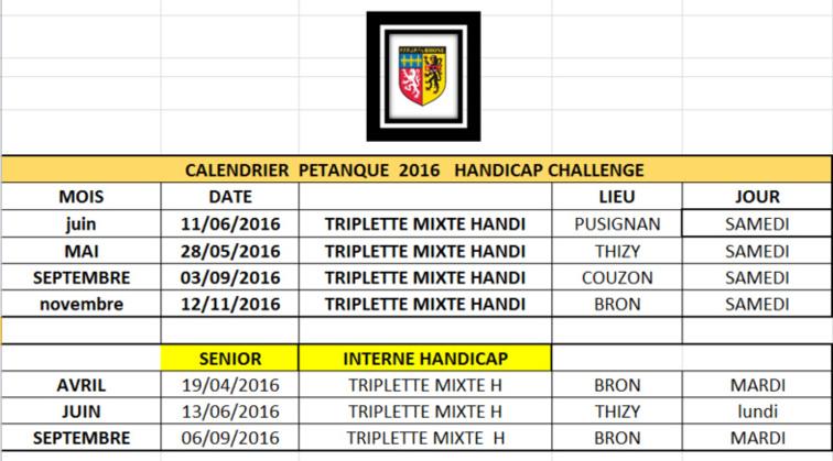 Calendrier handicap 2016