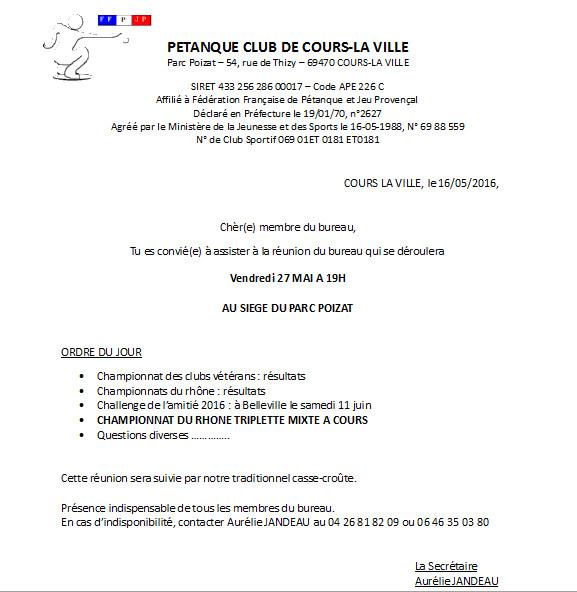 Réunion du bureau Vendredi 27 MAI à 19H  AU SIEGE DU PARC POIZAT