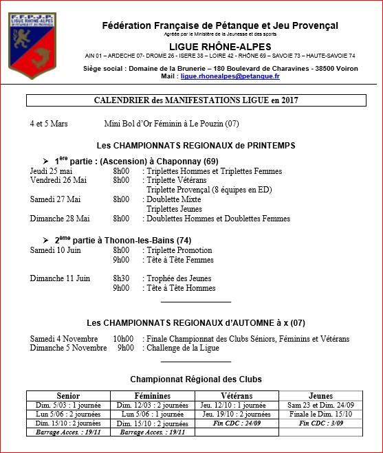 Calendrier des manifestations Ligue en 2017