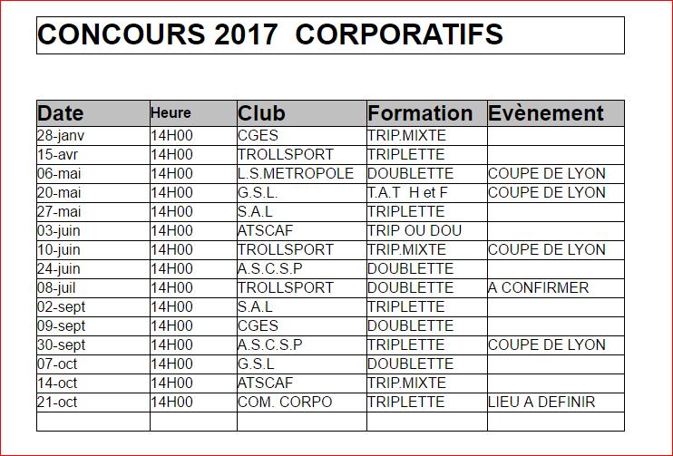 CONCOURS 2017  CORPORATIFS