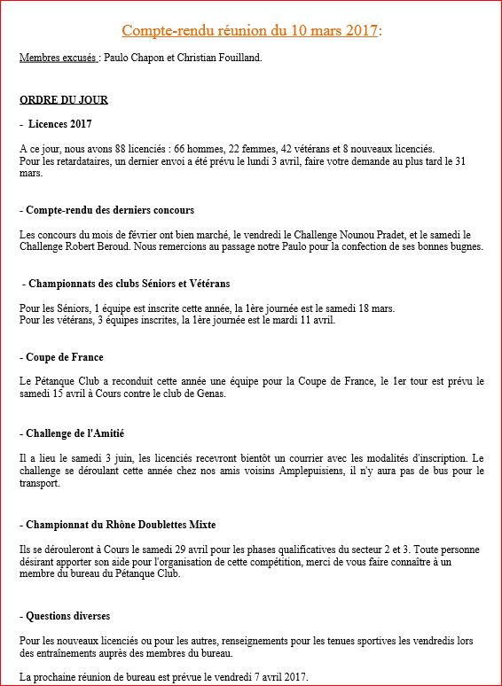 Compte-rendu de la réunion de bureau du vendredi 10 mars 2017  Pétanque club Cours-la-ville