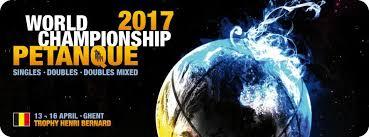 Championnats du Monde de pétanque en Belgique, T à T H. & F., D. H. & F. et D. Mixte, du 13 au 16 avril: