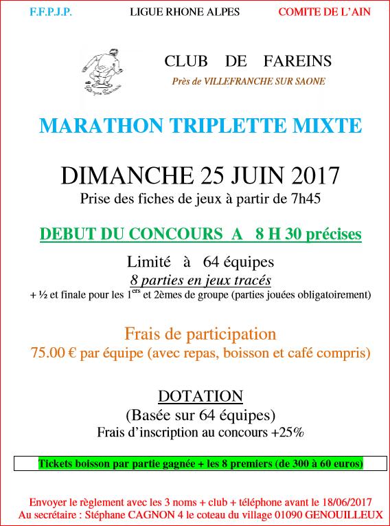 MARATHON TRIPLETTE MIXTE DIMANCHE 25 JUIN 2017 CLUB    DE    FAREINS  Près de VILLEFRANCHE SUR SAONE