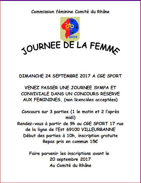 JOURNEE DE LA FEMME DIMANCHE 24 SEPTEMBRE 2017 A CGE SPORT