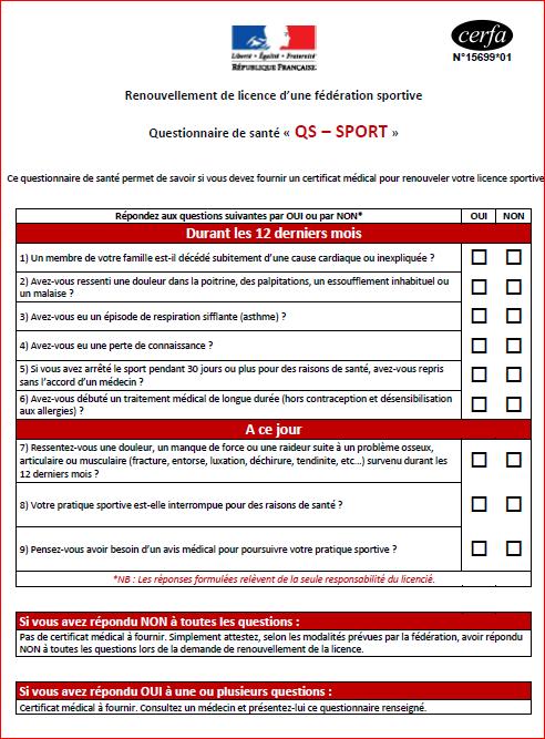 Suite aux modifications légales liées au certificat médical, nous vous précisions le dispositif applicable pour la saison 2018.