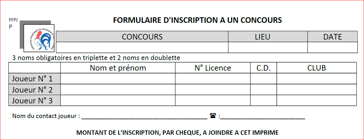 FICHE INSCRIPTION POUR PARTICIPER A UN CONCOURS SUPRA NATIONAL, INTERNATIONAL, NATIONAL,REGIONAL