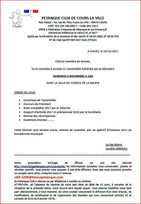 Assemblée Générale du PÉTANQUE CLUB DE COURS LA VILLE vendredi 3 novembre 2017 A 19H dans La SALLE DU CONSEIL DE LA MAIRIE