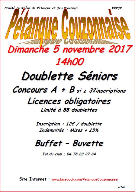 Concours Doublette Seniors à Couzon le dimanche 5 Novembre 2017