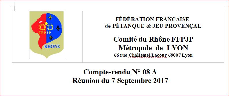 compte rendus des réunions du Comité Directeur des 7 et 28 Septembre 2017