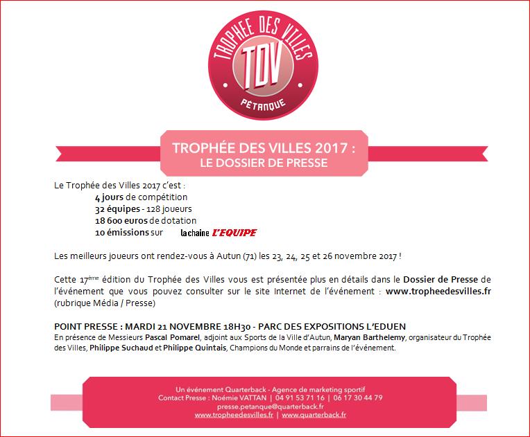 COMMUNIQUÉ DE PRESSE : TROPHEE DES VILLES • LE DOSSIER DE PRESSE