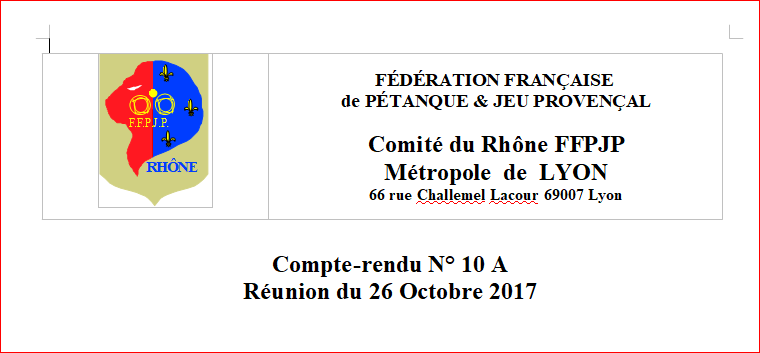 C.R. CD 69 REUNION DU 26 OCTOBRE 2017
