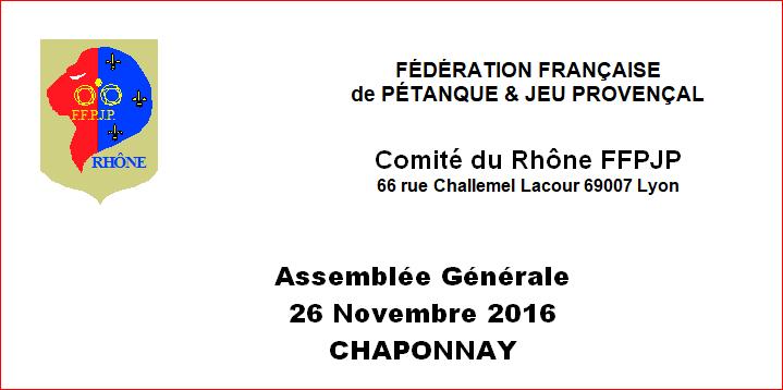 C.R. ASSEMBLEE GENERALE DU CD 69 EN 2016 A CHASSIEU