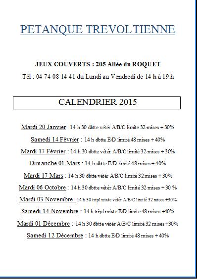 Calendrier 2015 du club de Trévoux