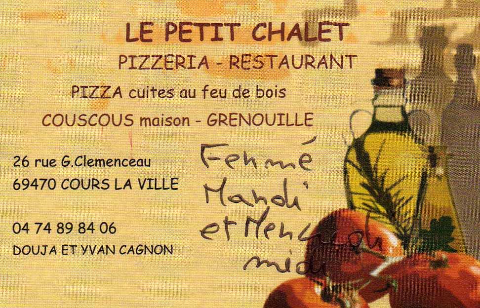 """Restaurant à Cours la ville """" LE PETIT CHALET """""""