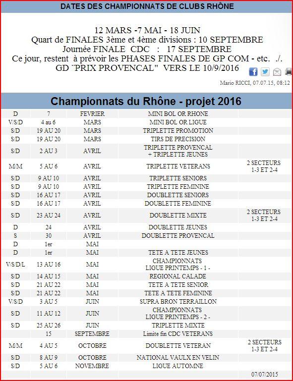 DATES DES CHAMPIONNATS DE CLUBS RHÔNE et Championnats du Rhône - projet 2016