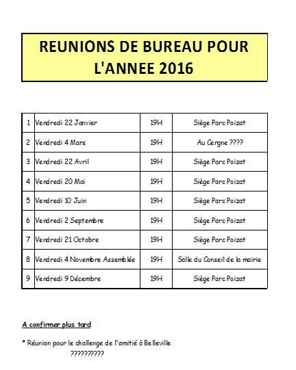 Calendrier des réunions de Bureau 2016 et assemblée générale 2016