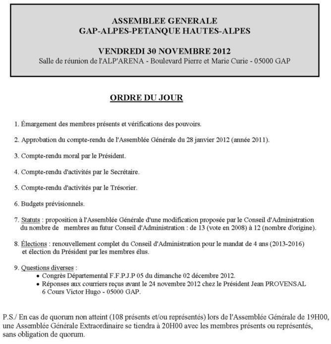 Assemblée Générale du GAP ALPES PETANQUE