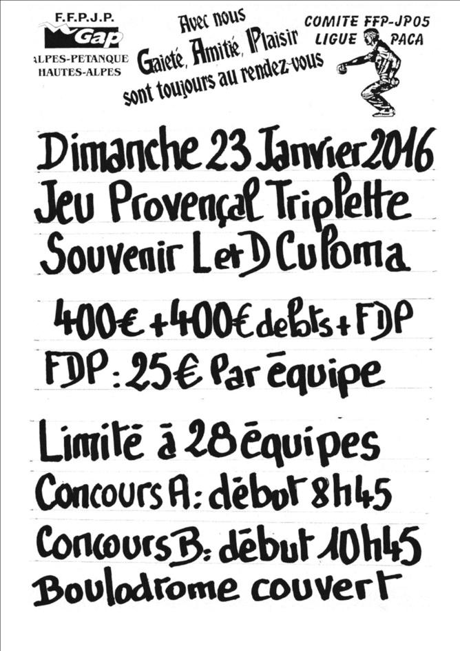 JEU PROVENCAL TRIPLETTE:SOUVENIR LEO ET DOMINIQUE CULOMA, DIMANCHE 23 JANVIER