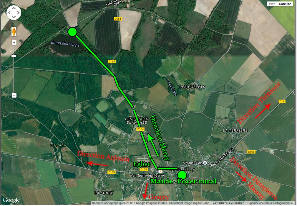 Le plan d'accès aux terrainx de pétanque à l'Etang des Sceps