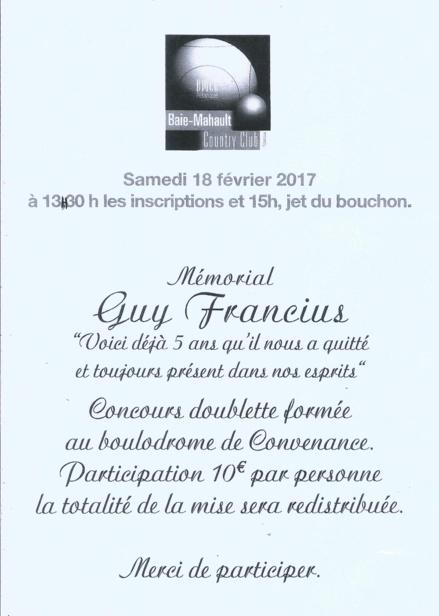 REMEMBER , revoilà le Mémorial Guy Francius