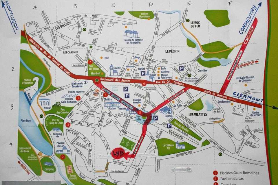 un plan d'accès au boulodrome de Néris les bains
