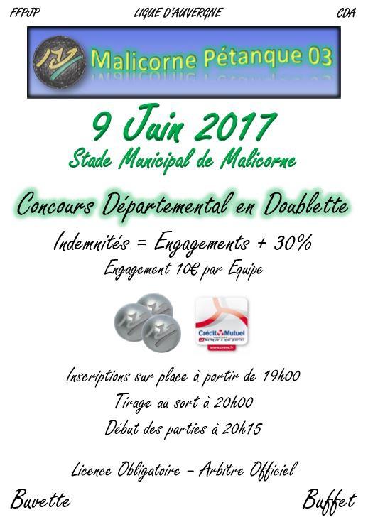 Concours Doublette Nocturne du 9 Juin 2017