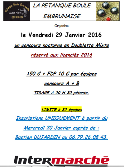 Concours nocturne du 29 janvier 2016