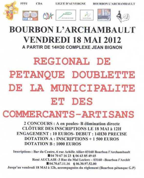 Régional Doublette du 18 Mai 2012